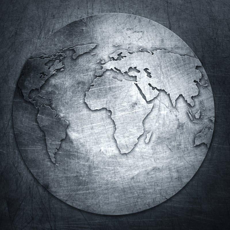 Mapa do mundo do fundo do metal fotos de stock