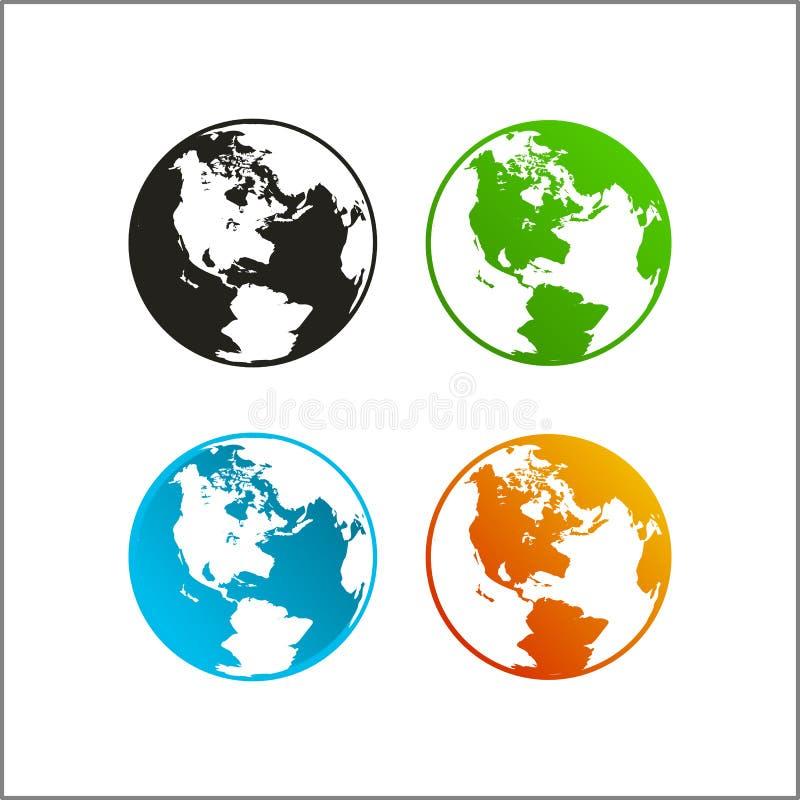 Mapa do mundo do globo do logotipo do ícone do vetor do clipart ilustração stock