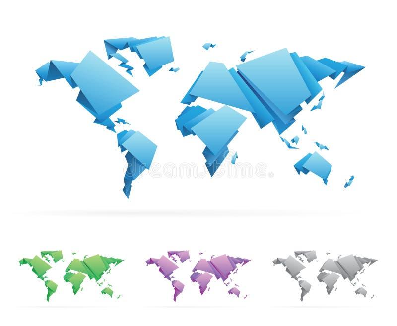 mapa do mundo do vetor do Origami-estilo ilustração royalty free