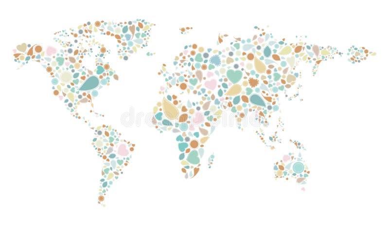 Mapa do mundo do teste padrão do vintage ilustração royalty free