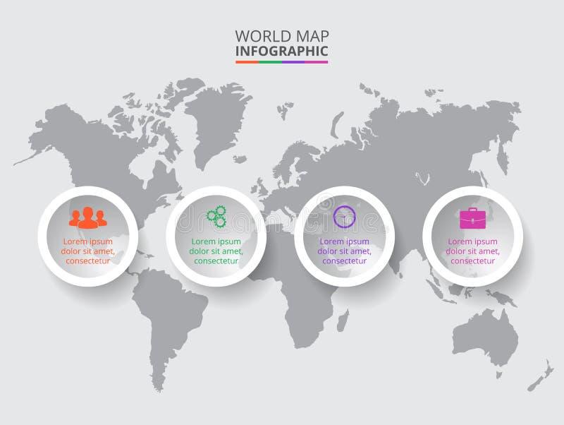 Mapa do mundo do vetor com elementos infographic fotos de stock