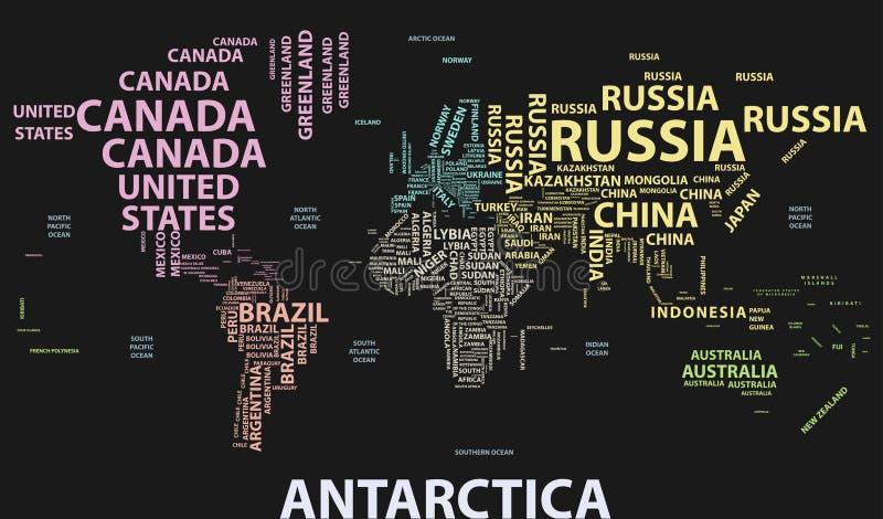 Mapa do mundo do vetor com nomes de país na tipografia ilustração royalty free