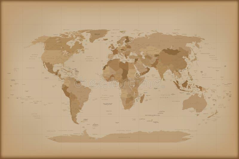 Mapa do mundo do vintage ilustração stock