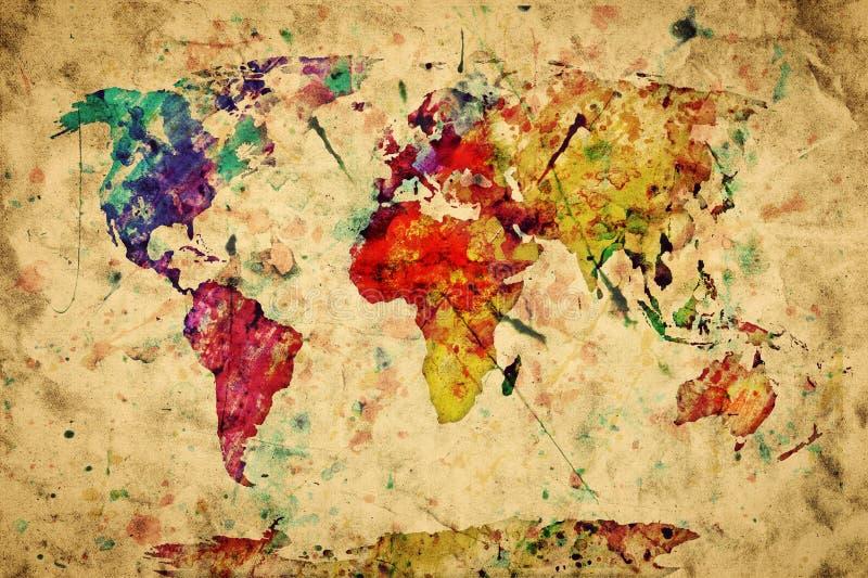 Mapa do mundo do vintage. Pintura colorida ilustração royalty free