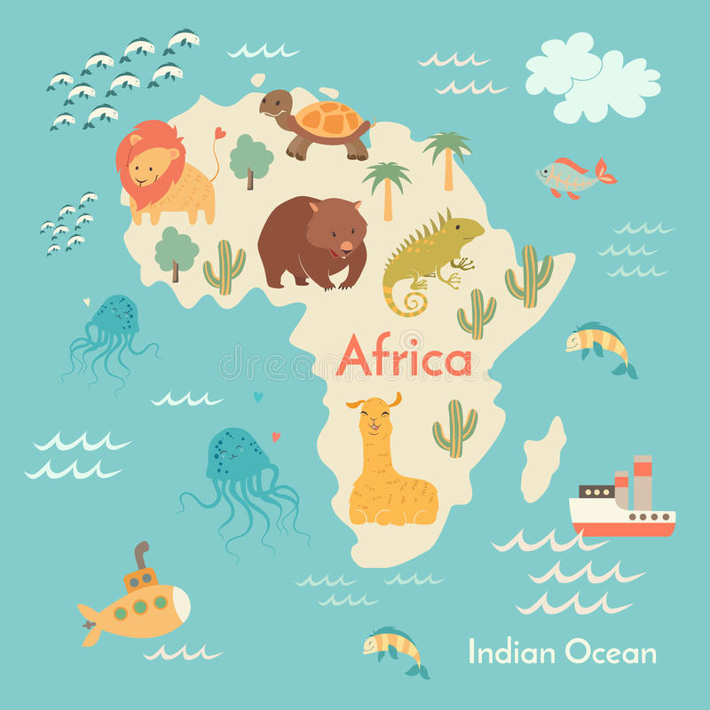 Mapa do mundo dos animais, África ilustração stock