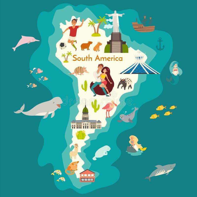 Mapa do mundo dos animais, Ámérica do Sul com marcos ilustração do vetor