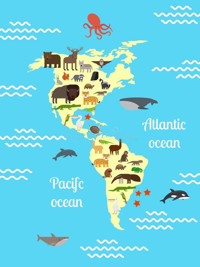 Mapa do mundo dos animais de América para crianças ilustração stock