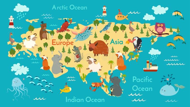 Mapa do mundo dos animais, Eurasia ilustração stock