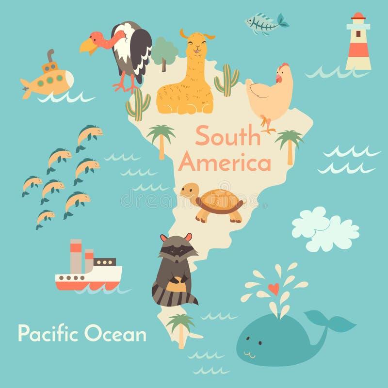 Mapa do mundo dos animais, Sorth América ilustração stock