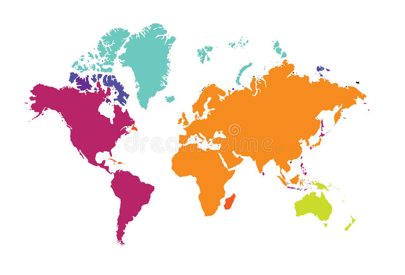 Mapa do mundo dos continentes Europa Austrália América do mundo ilustração royalty free