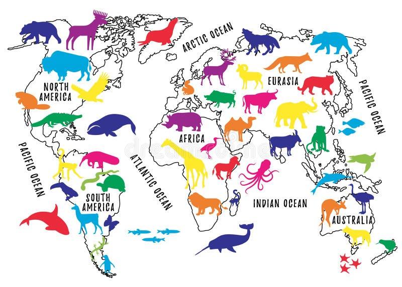 Mapa do mundo dos desenhos animados com as silhuetas dos animais para crianças ilustração royalty free