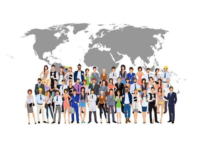 Mapa do mundo dos povos do grupo ilustração do vetor