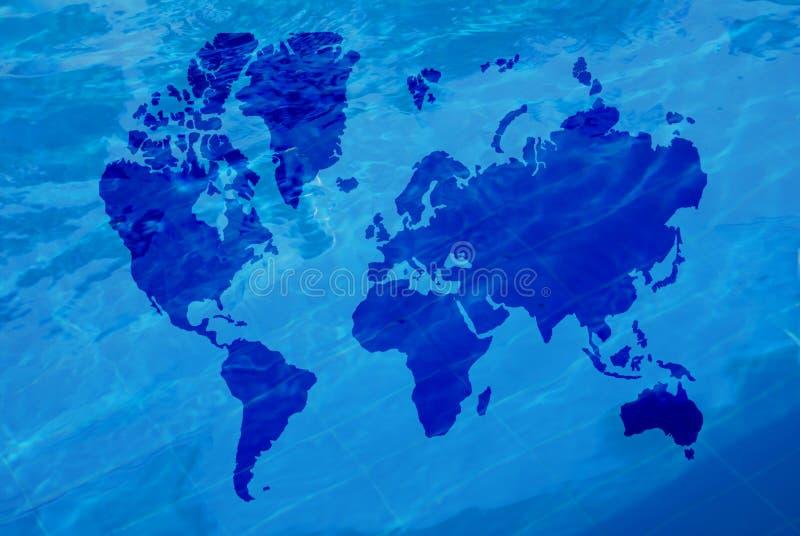 Mapa do mundo e da água imagens de stock royalty free