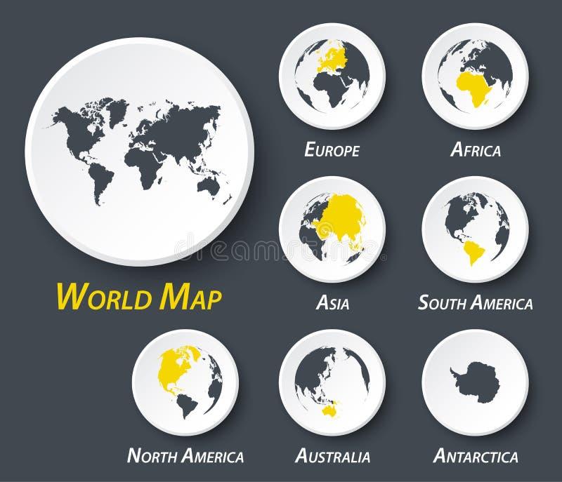 Mapa do mundo e do continente no círculo ilustração do vetor