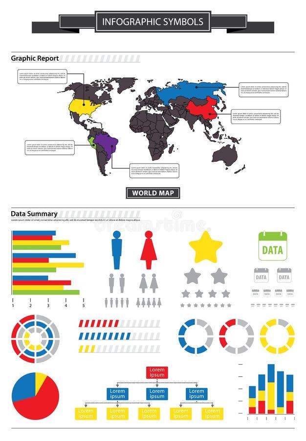 Mapa do mundo e sumário dos dados de gráficos do negócio ilustração stock
