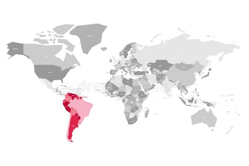 Mapa do mundo em cores cinzentas com os países destacados vermelhos de Ámérica do Sul Ilustração do vetor ilustração royalty free