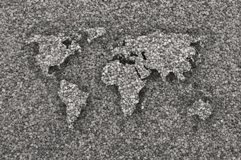 Mapa do mundo em sementes de papoila imagens de stock