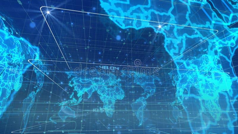 Mapa do mundo esférico da transmissão de Digitas ilustração royalty free