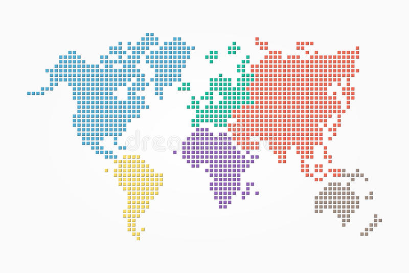 Mapa do mundo (estilo do pixel e projeto liso) da cor (cor diferente do continente) ilustração royalty free