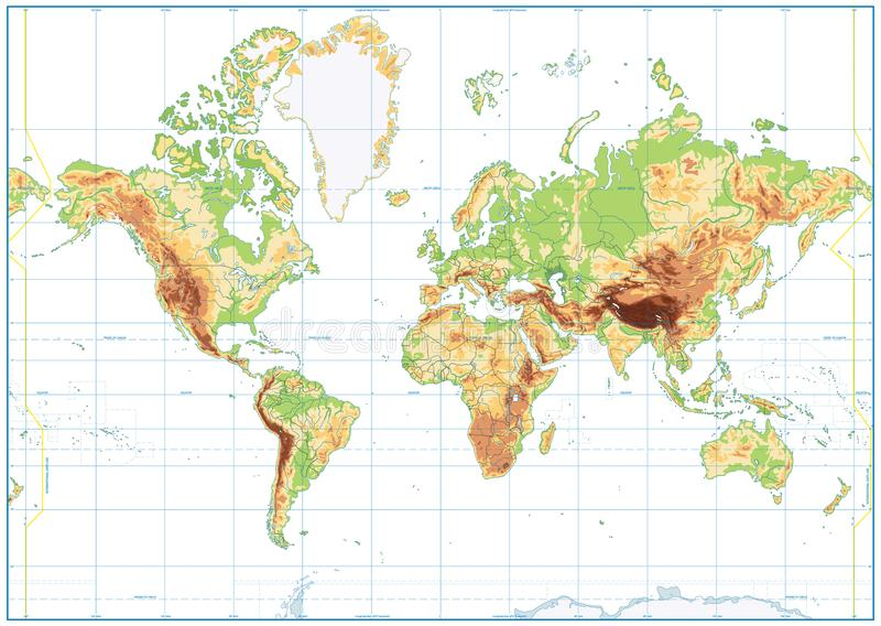 Mapa do mundo físico vazio isolado no branco ilustração do vetor
