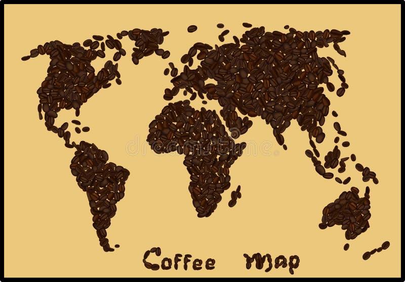 Mapa do mundo feito de feijões de café no fundo bege ilustração stock