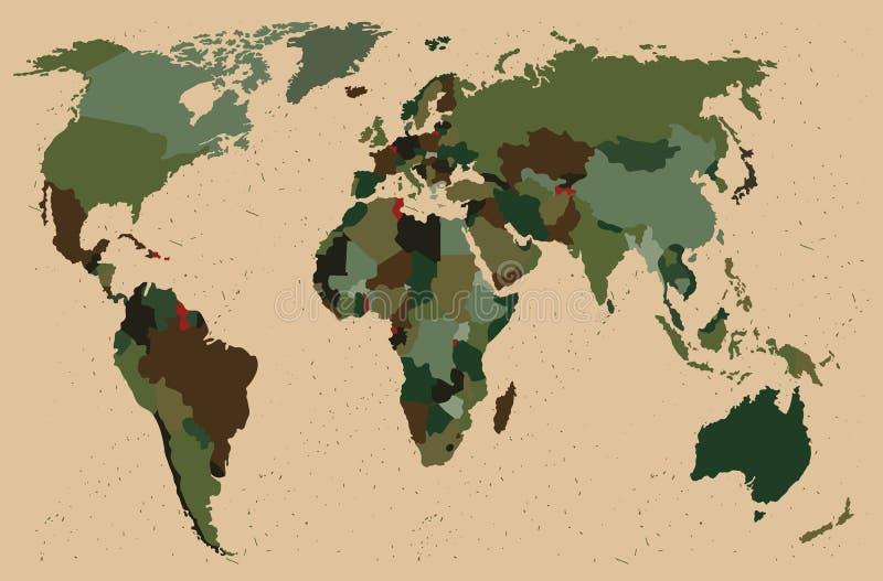 Mapa do mundo - floresta, teste padrão verde da camuflagem ilustração do vetor