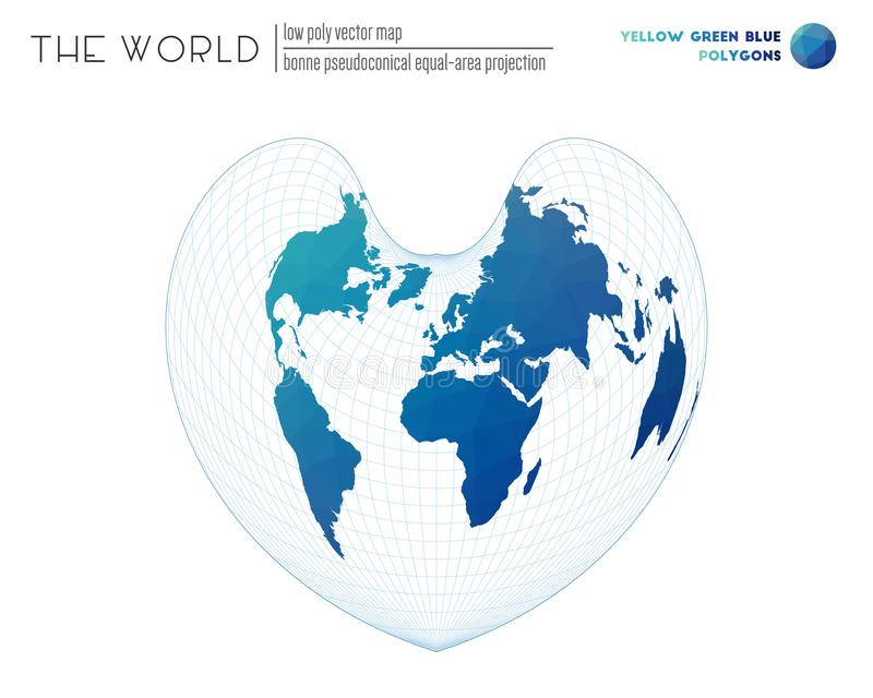 Mapa do mundo geométrico abstrato ilustração do vetor