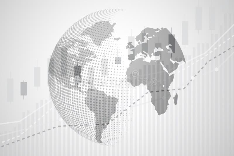 Mapa do mundo global da moeda de Digitas com o cha do gráfico da vara da vela ilustração royalty free