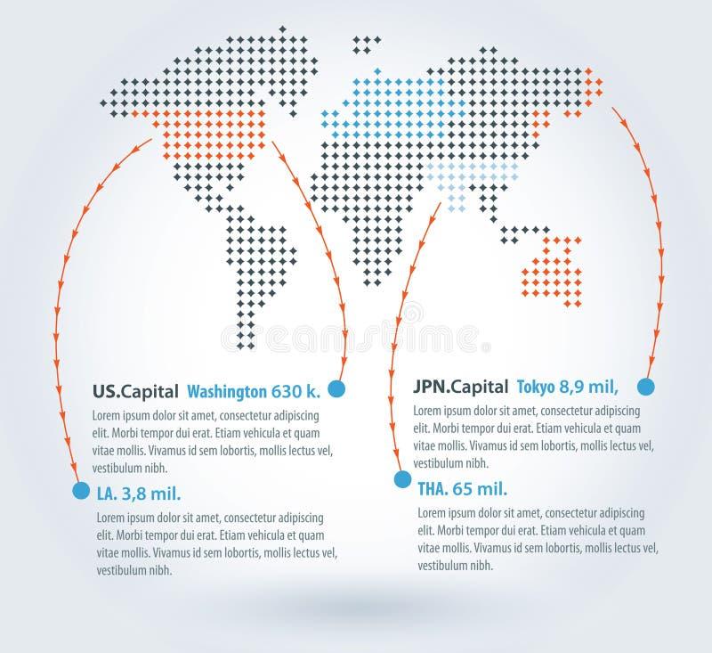 Mapa do mundo Infographic ilustração do vetor