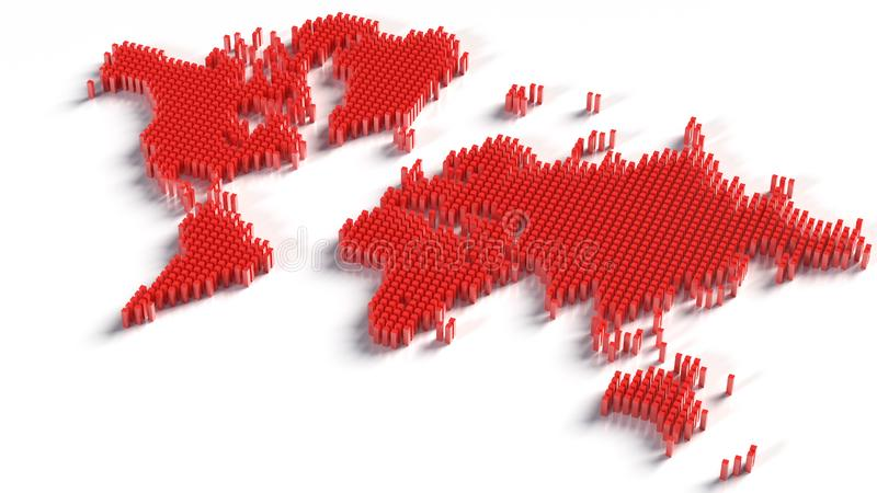 Mapa do mundo isolado no fundo branco Terra lisa Curso mundial, contexto da silhueta do mapa fotografia de stock