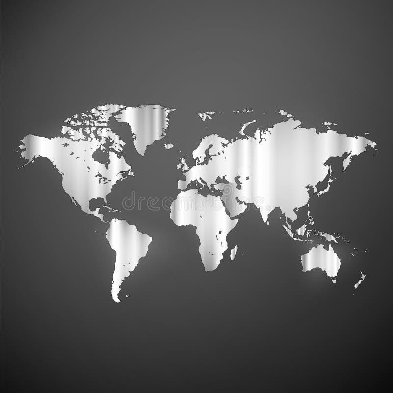 Mapa do mundo metálico do infographics ilustração royalty free