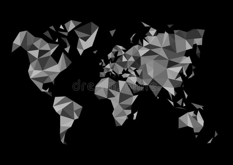 Mapa do mundo monocromático poligonal ilustração royalty free