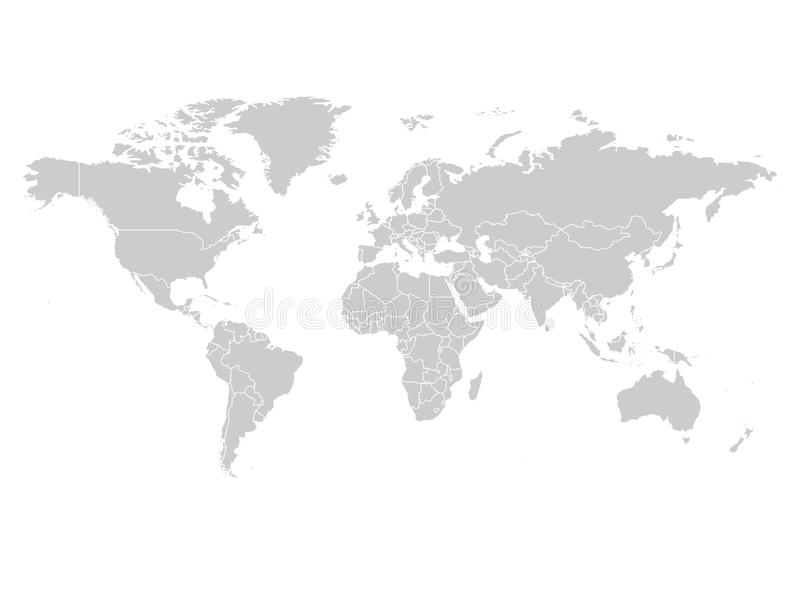 Mapa do mundo na cor cinzenta no fundo branco Mapa político da placa alta do detalhe Ilustração do vetor com composto etiquetado ilustração royalty free