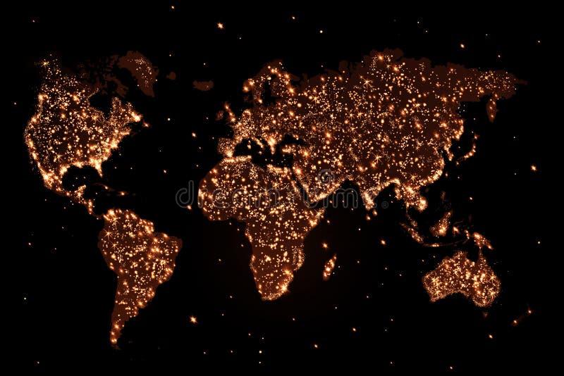 Mapa do mundo na noite com luzes ilustração do vetor