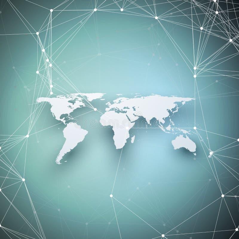Mapa do mundo na perspectiva com sombra no azul Conexões de rede global abstratas, conceito geométrico da tecnologia de design ilustração do vetor