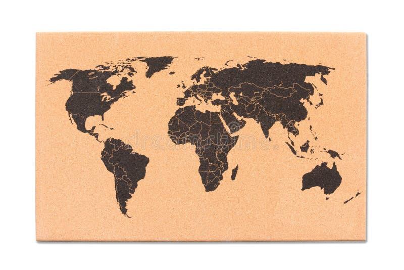 Mapa do mundo na textura da placa da cortiça foto de stock
