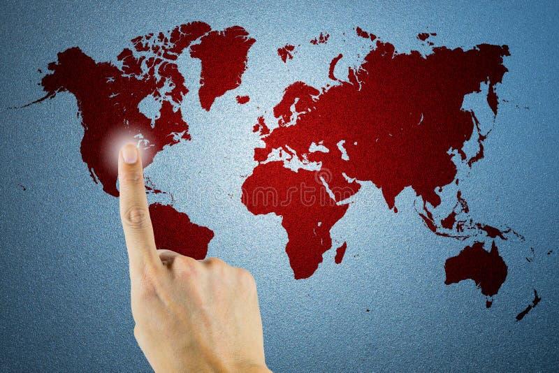 Mapa do mundo na textura do vidro geado como o fundo fotografia de stock royalty free