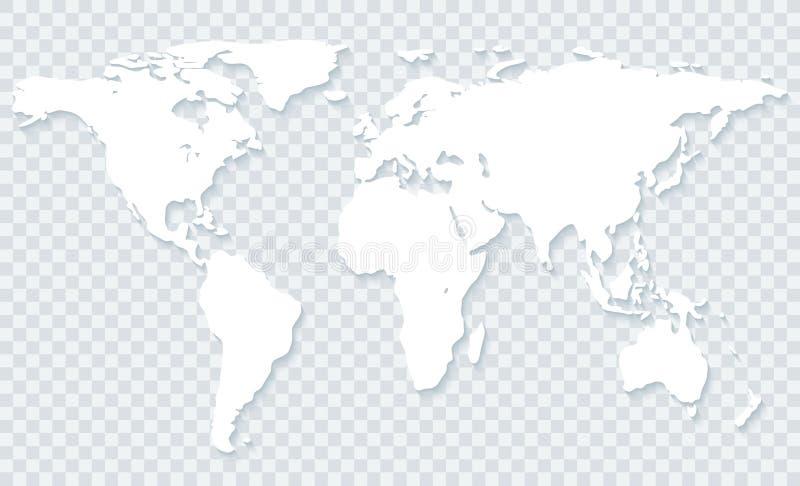 Mapa do mundo no fundo transparente ilustração do vetor