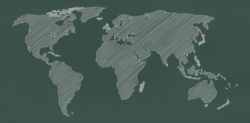 Mapa do mundo no quadro ilustração stock