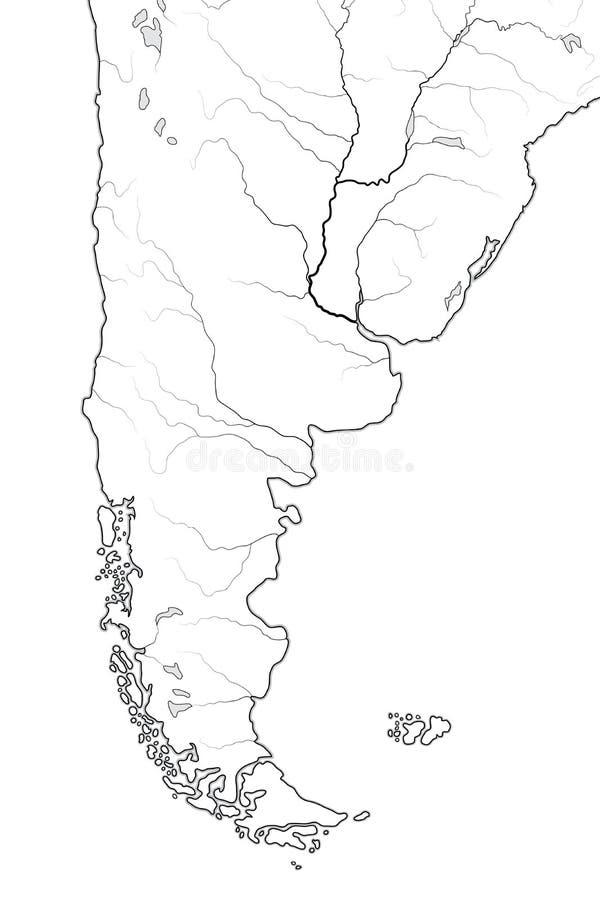 Mapa do mundo do PATAGONIA: Argentina, o Chile, Paraguai, Uruguai, Patagonia, pampas Carta geográfica ilustração stock