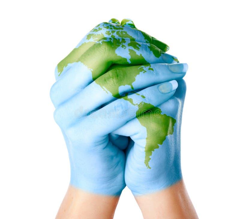 Mapa do mundo pintado nas mãos imagens de stock royalty free