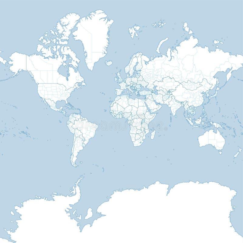 Mapa do mundo, planisphere político ilustração stock
