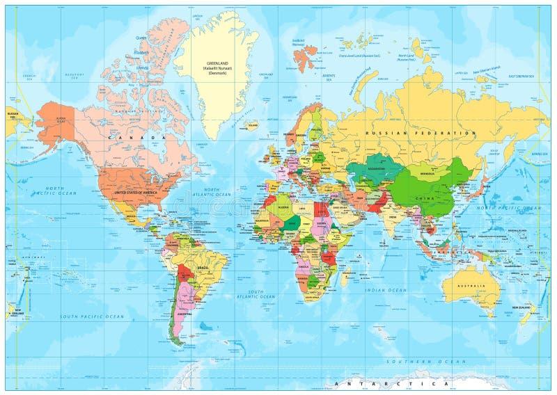 Mapa do mundo político altamente detalhado com rotulagem ilustração do vetor
