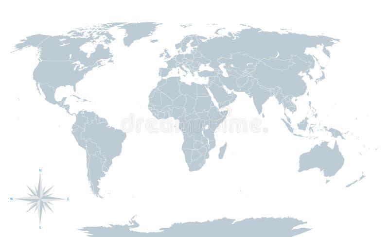 Mapa do mundo político, cinza, com beiras brancas