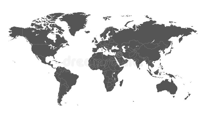 Mapa do mundo político cinzento vazio isolado no fundo branco Wor ilustração do vetor