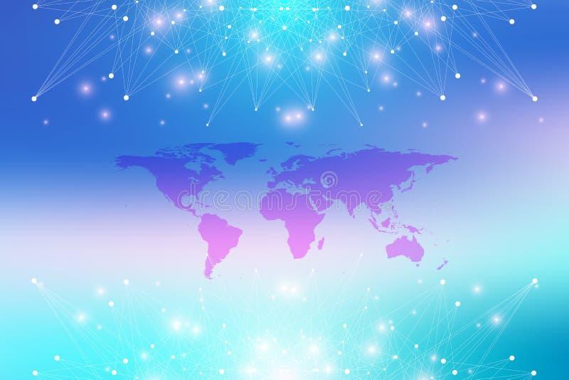 Mapa do mundo político com conceito global dos trabalhos em rede da tecnologia Visualização dos dados de Digitas Alinha o plexo D ilustração royalty free