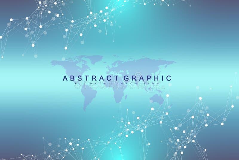 Mapa do mundo político com conceito global dos trabalhos em rede da tecnologia Visualização dos dados de Digitas Alinha o plexo D ilustração stock