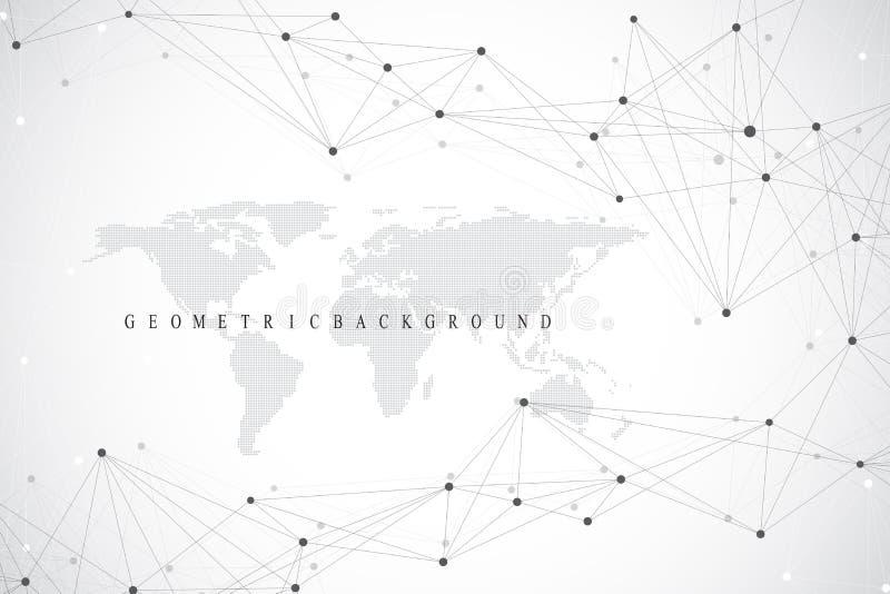 Mapa do mundo político com conceito global dos trabalhos em rede da tecnologia Visualização dos dados de Digitas Cybernetic cient ilustração royalty free