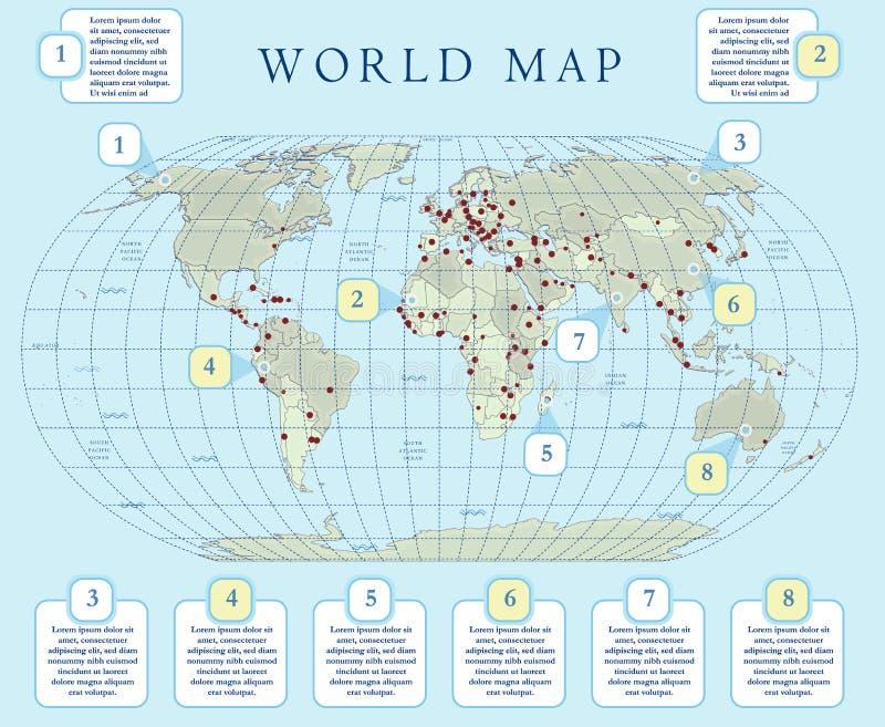 Mapa do mundo político da pequena escala com capitais principais Projeto liso com grade, etiqueta e legenda no mapa ilustração do vetor