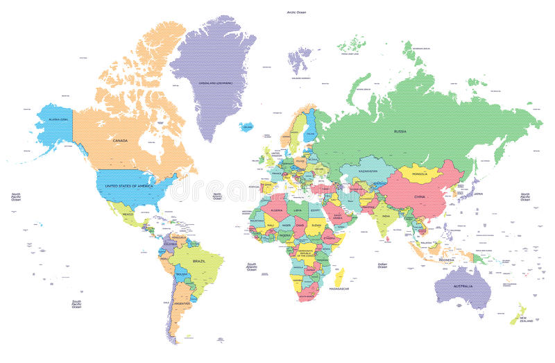 Mapa do mundo político pontilhado com capitais ilustração do vetor